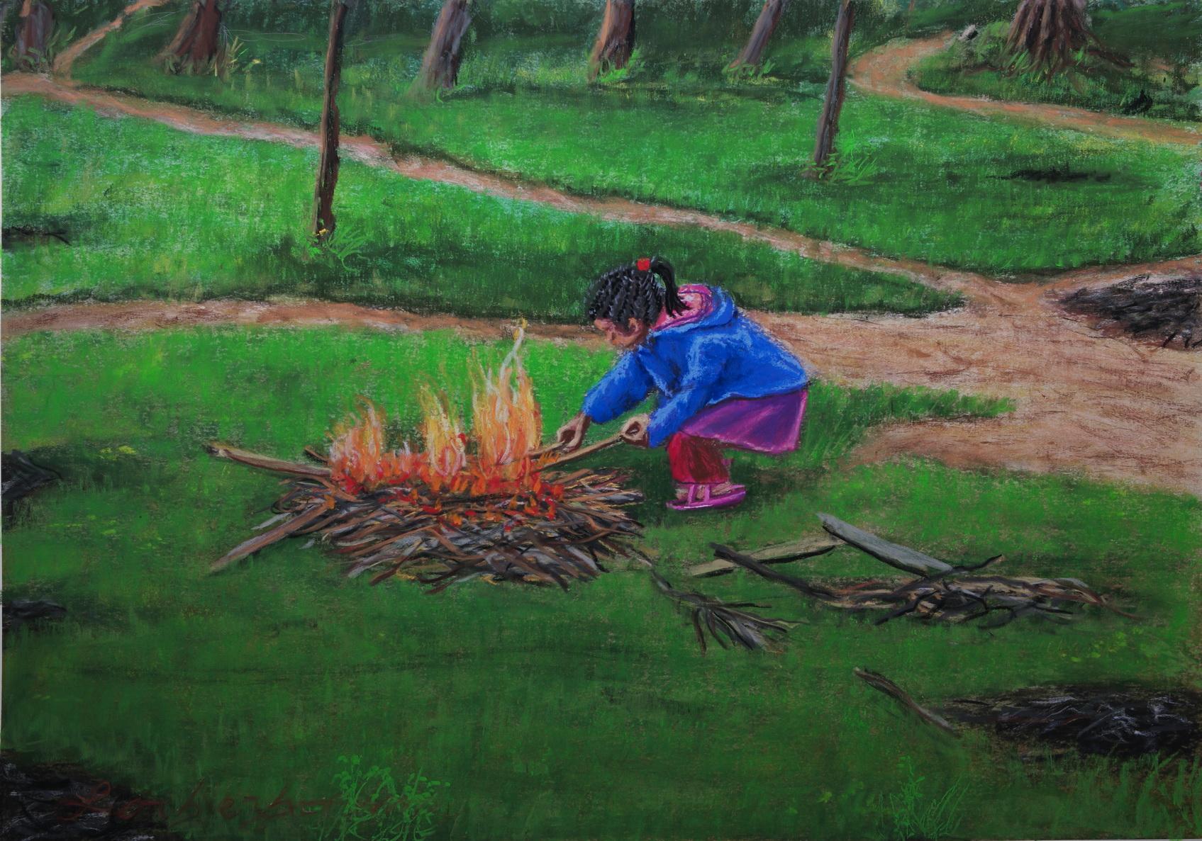 Little girl playing fire, Soft pastel, Koh Lanta, Laos. Lorberboim Soft Pastel Painting.