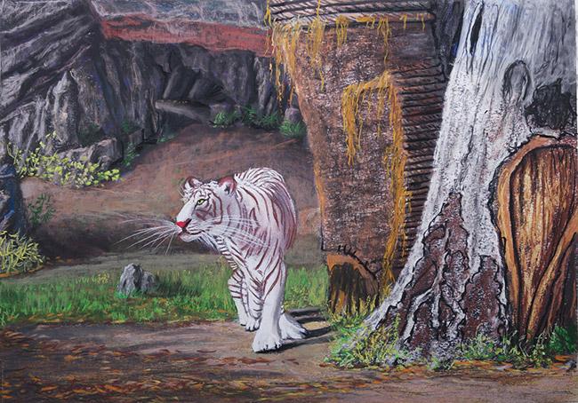 White tiger. Chiang Mai zoo. Lorberboim Soft Pastel Painting.