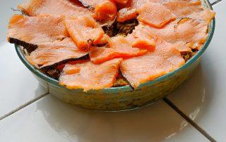 Lorberboim curding Salmon pie. Lorberboim.club.